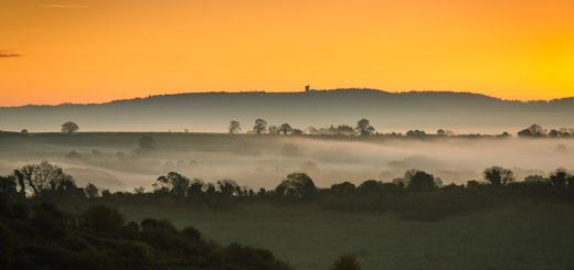 Dawn over Greens Combe to St Alfreds Tower - Bruton, Somerset, UK. ID 808_1409