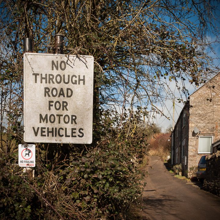 No Through Road for Motor Vehicles - Dinder, Nr Wells, Somerset, UK. ID JB5_0796