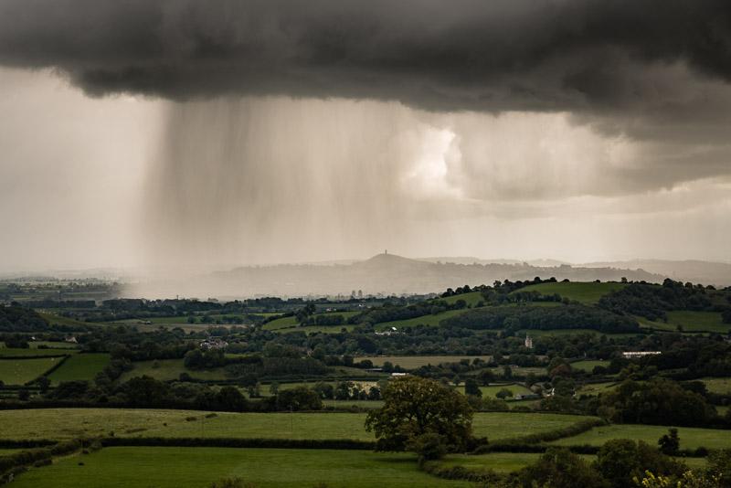 Shower over Glastonbury - From Deerleap, Somerset, UK. ID 823_3855
