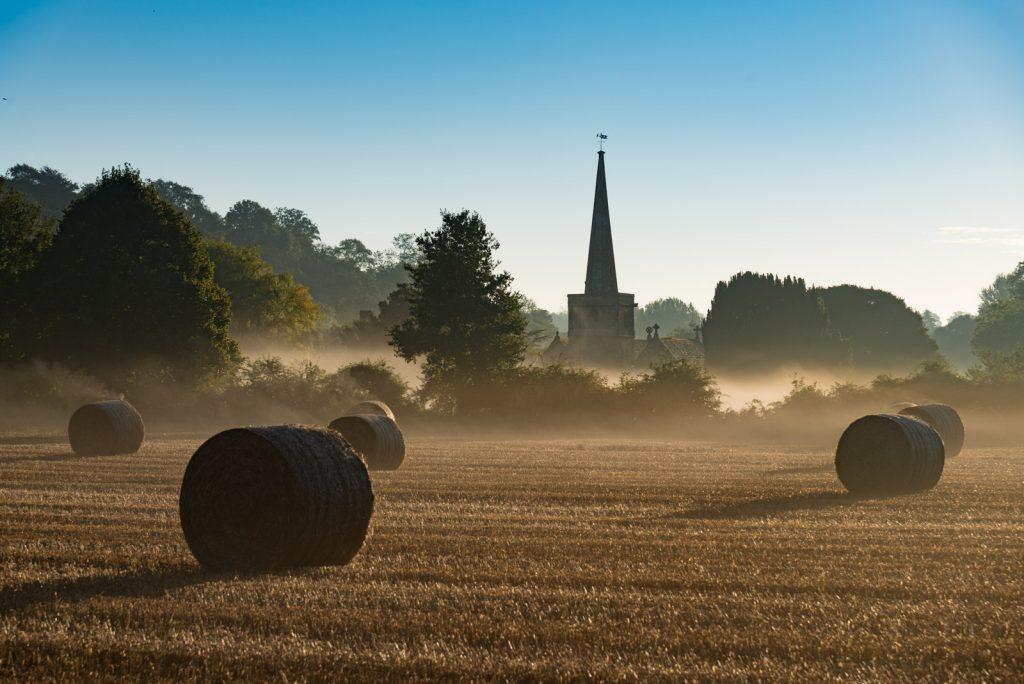 Bales in Autumn Mist - Compton Pauncefoot, Somerset, UK. ID 804_9452