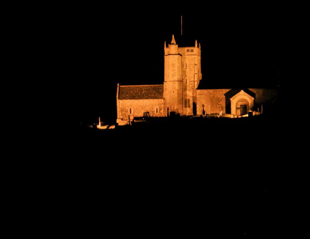 Uphill Church at night - North Somerset, UK. ID SOMVIL/07