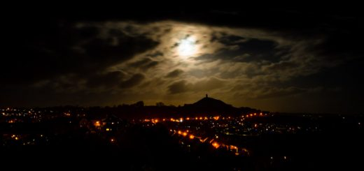 Supermoon from Wearyall HIll - Glastonbury Tor, Somerset, UK. ID 824_4913