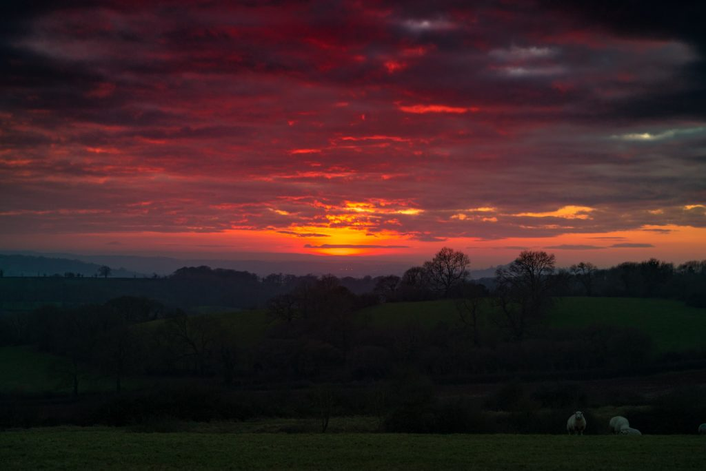 Red Sunset - Nr Croscombe, Somerset, UK. ID 824_6066