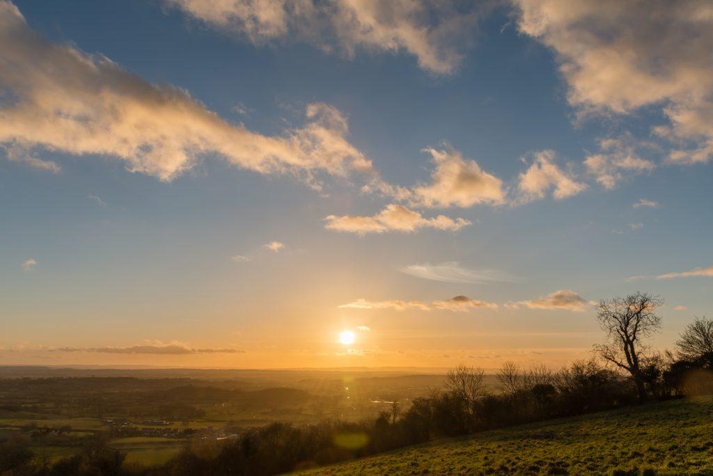 Sunset from Deerleap - Near Wells, Somerset, UK. ID 825_0724
