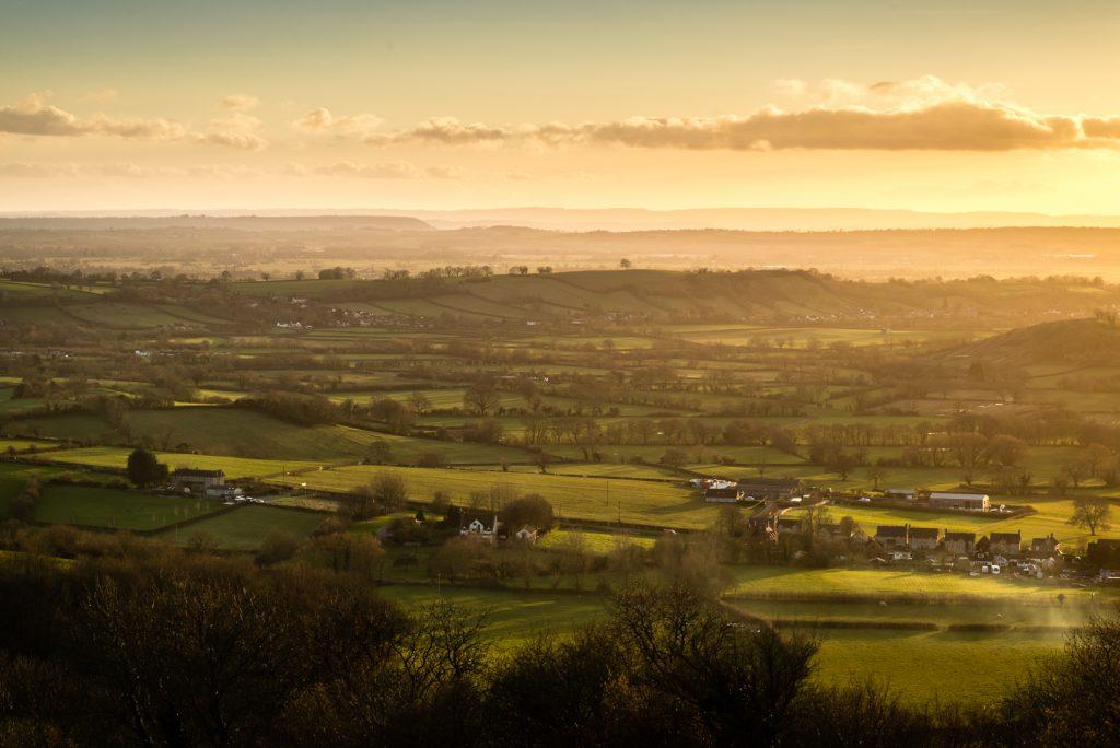 Glastonbury Tor and Axe Valley - From Deerleap, Wells, Somerset, UK. iD 825_0679
