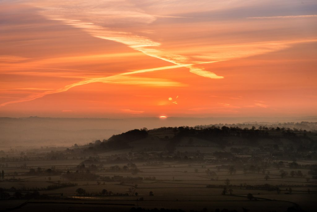 Spring Equinox Sunrise - From Glastonbury Tor, Somerset, UK. ID 825_7322