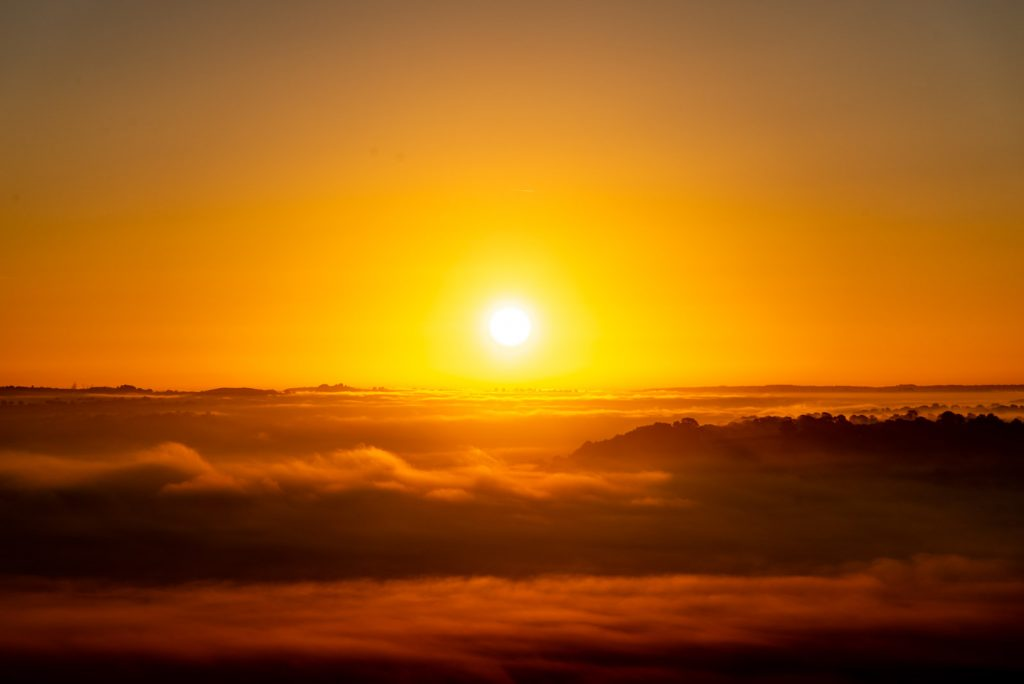 Sunrise over the Somerset Sea - Glastonbury Tor, Somerset, UK. ID 825_8977