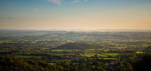 Glastonbury Tor from above Wells - Mendip Hills, Somerset, UK. ID 825_9981