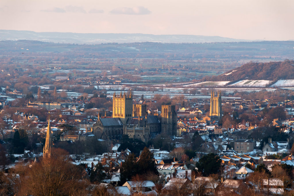 Wells in the snow - From Knapp Hill, Somerset, UK. ID IMG_1191