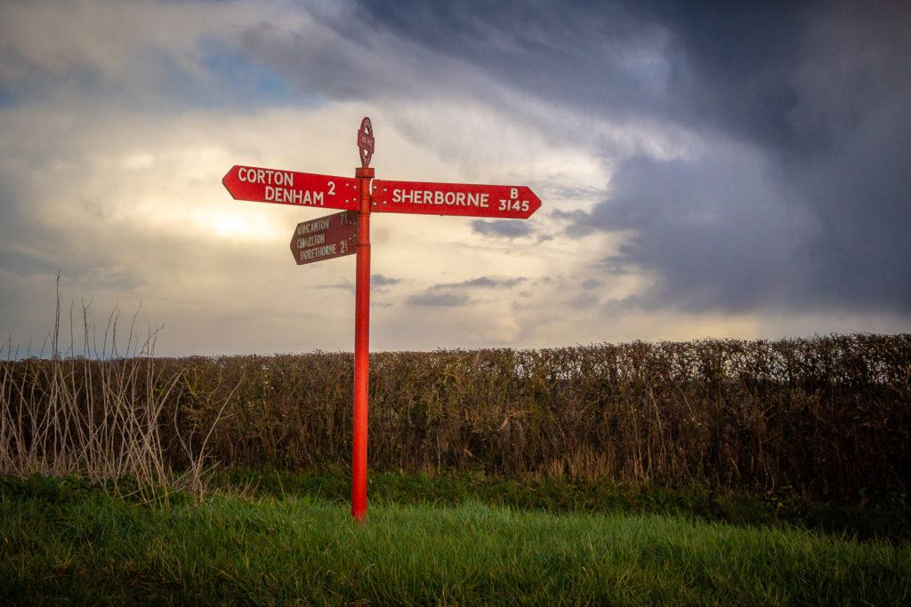 Red Post - Corton Denham, Somerset, UK. ID IMG_4317