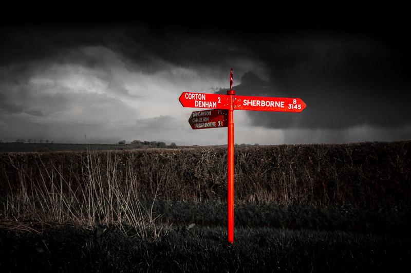 Red Post - Corton Denham, Somerset, UK. ID IMG_4346