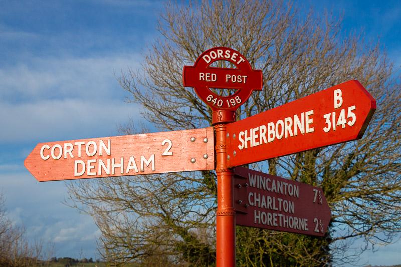 Red Post - Corton Denham, Somerset, UK. ID IMG_4354