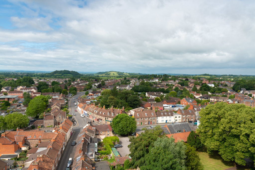 View from St Cuthberts Church - Wells, Somerset, UK. ID JB1_5452