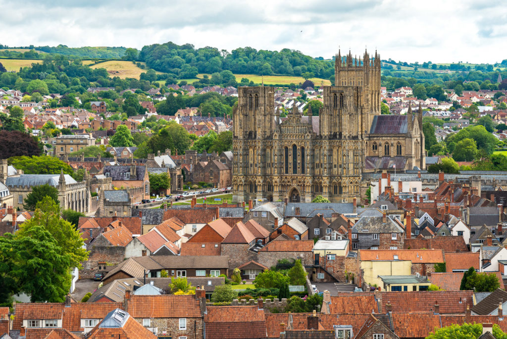 View from St Cuthberts Church - Wells, Somerset, UK. ID JB1_5461