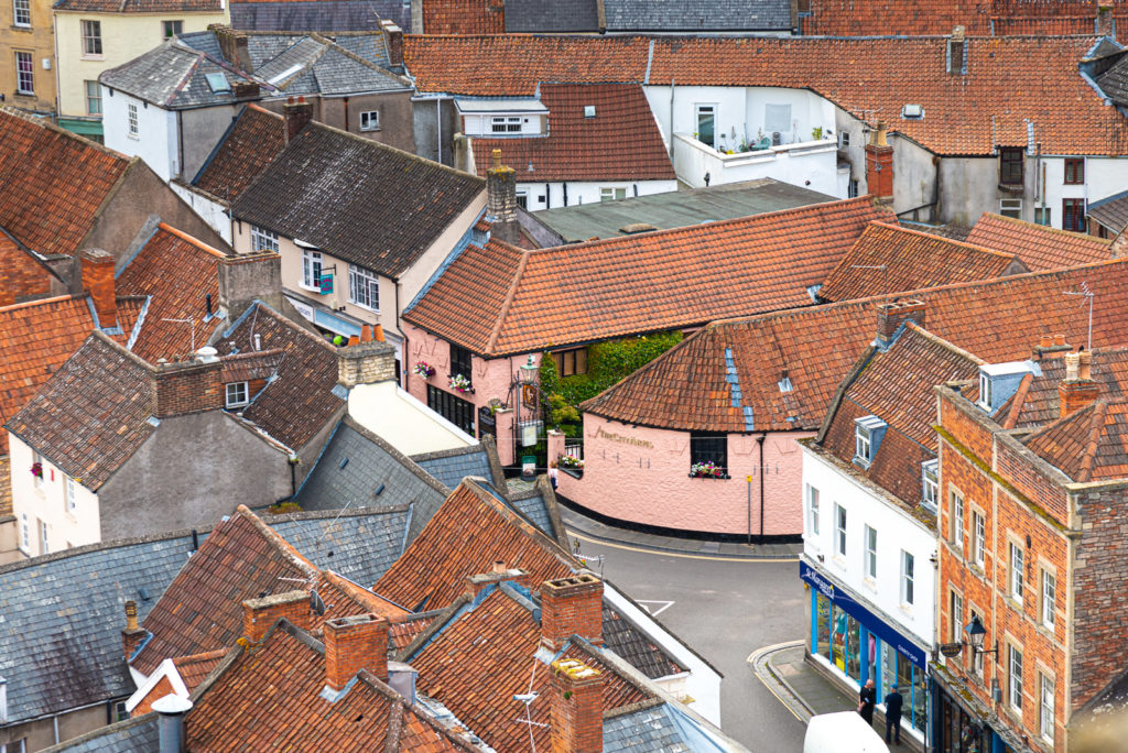 The City Arms from St Cuthberts Church - Wells, Somerset, UK. ID JB1_5486