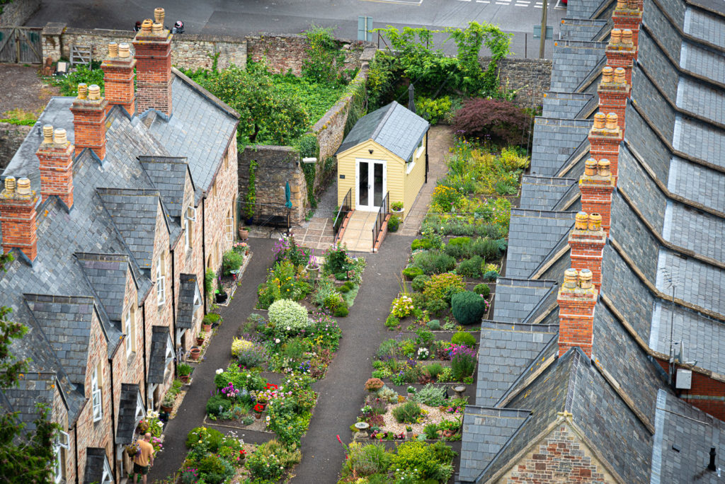 Almshouses from St Cuthberts Church - Wells, Somerset, UK. ID JB1_6760- Wells, Somerset, UK. ID JB1_6775