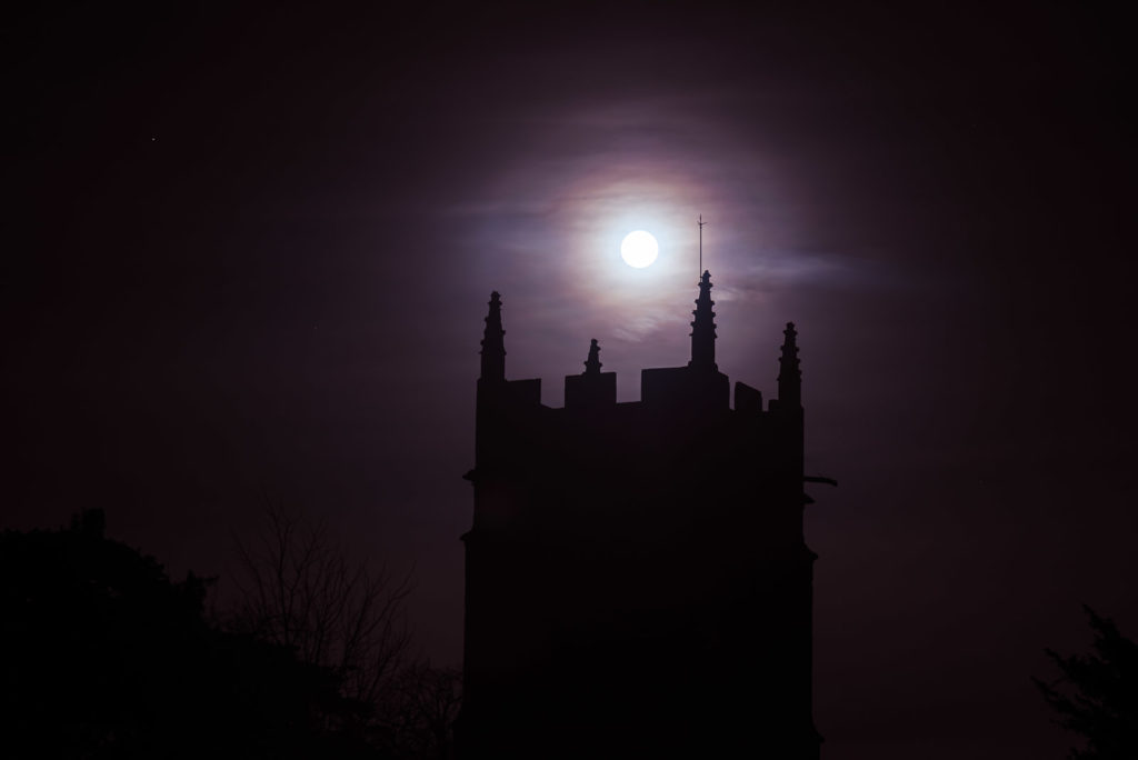 Wolf Moon at Church of St Mary The Virgin - Ston Easton, Somerset, UK. ID JB1_1768H
