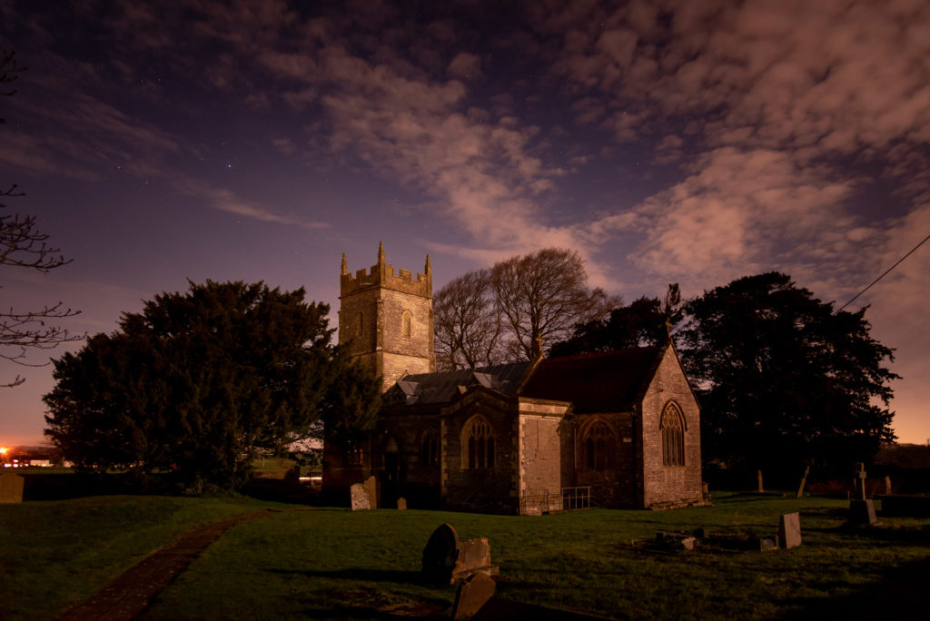 Church of St Mary The Virgin at Night - Ston Easton, Somerset, UK. ID JB1_1786