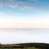 Somerset Levels in the Mist - From Crook Peak, Mendip Hills, Somerset, UK. ID JB1_2678
