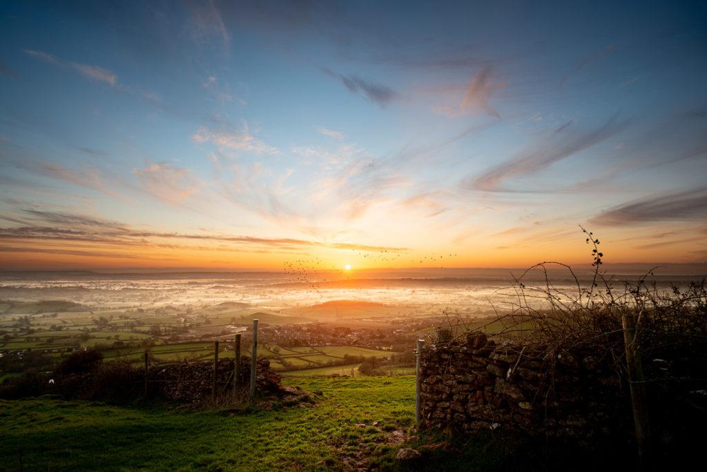 Gateway to the sunset - Cooks Fields, Mendip Hills, Somerset, UK. ID JB1_3211E