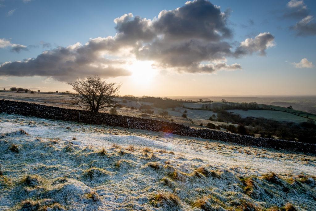 Fist snow of the year - Cooks Fields, Mendip Hills, Somerset, UK. ID JB1_4813