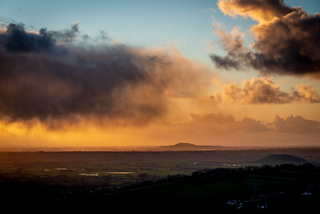 Showers over Brent Knoll - From Lynchcombe, Mendip Hills, Somerset, UK. ID JB1_8175