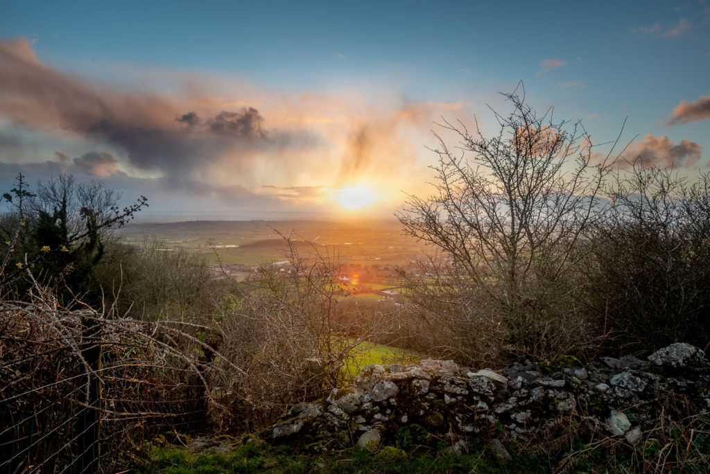 Sunset over the wall - Lynchcombe, Somerset, UK. ID JB1_8220