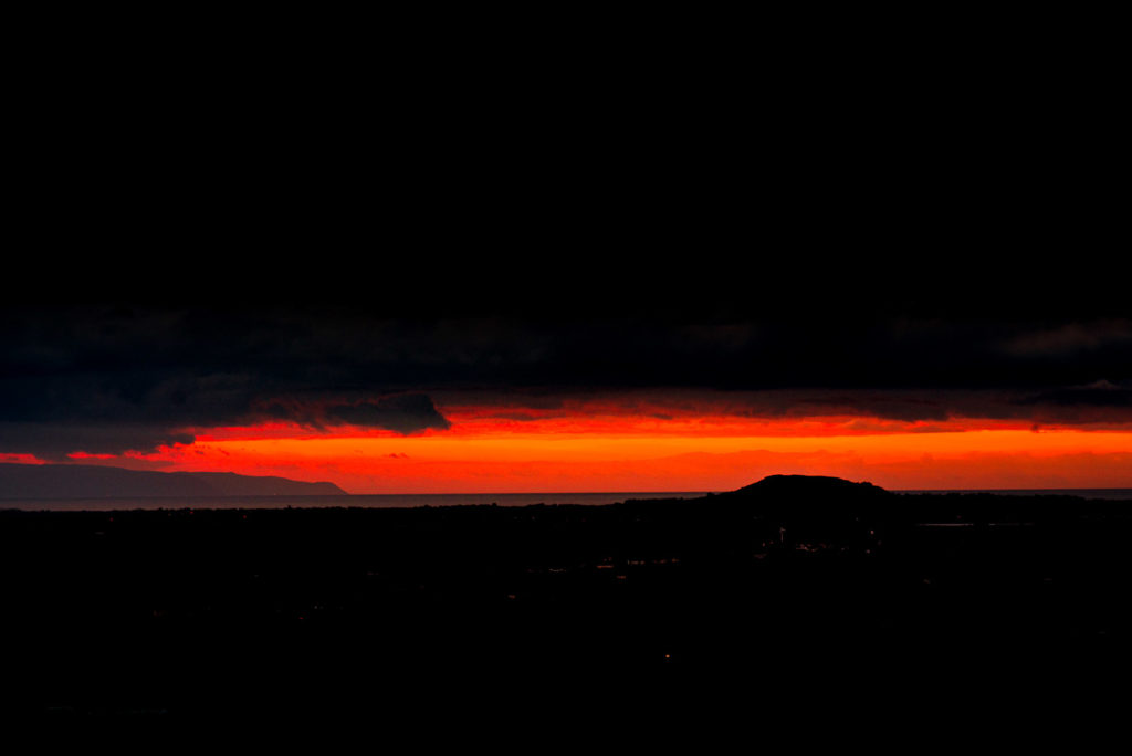 Sunset over Brent Knoll - From Lynchcombe, Mendip Hills, Somerset, UK. ID JB1_8827