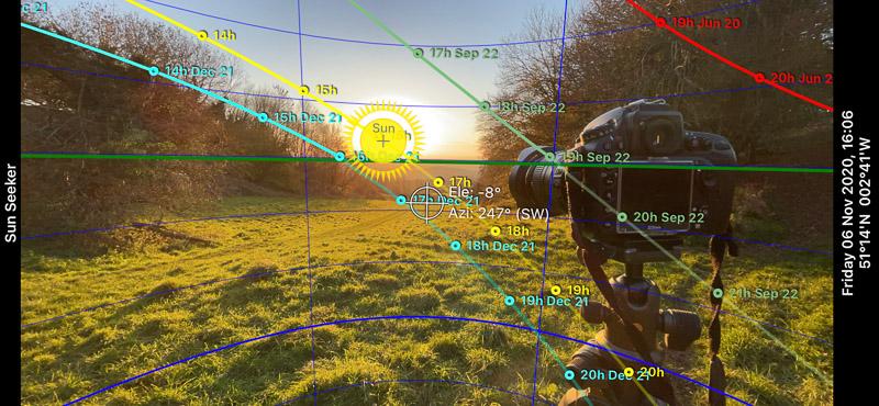 Sunseeker App - Lynchcombe, Mendip Hills, Somerset, UK. ID screen 1