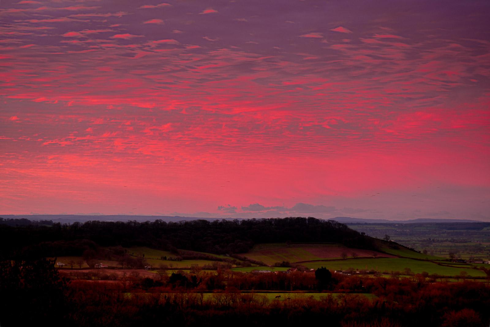 Christmas Sunrise - Worminster Down, Wells, Somserset, UK. ID JB1_0670