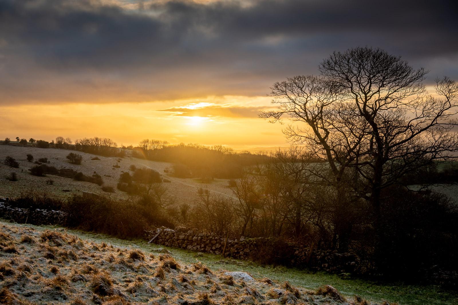 Winter Sunrise at Lynchcombe - From Cooks Fields, Mendip Hills, Somerset, UK. ID JB1_1158H