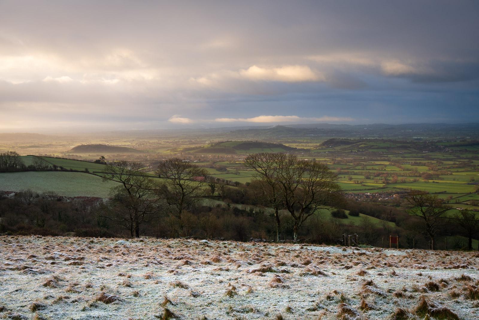 Winter Sunrise at Lynchcombe - From Cooks Fields, Mendip Hills, Somerset, UK. ID JB1_1227H