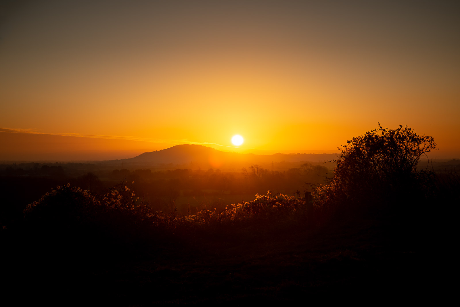 Brent Knoll Sunset - From the base of Crook Peak, Mendip Hills, Somerset, UK. ID JB1_9985