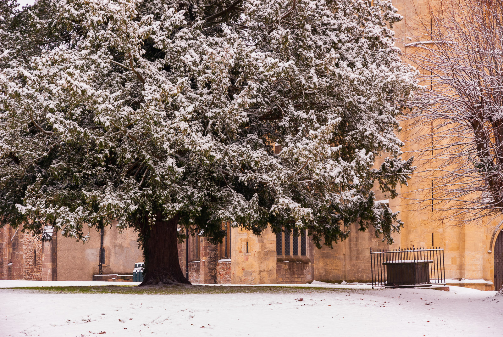 Snow at St Cuthberts Church - Wells, Somerset, UK. ID JB4_0009