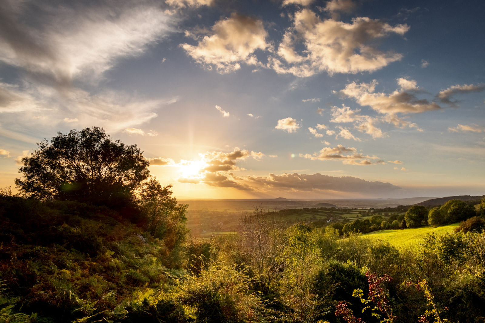 Lynchcombe Sunset from The Lookout - Mendip Hills, Somerset, UK. ID BR58137