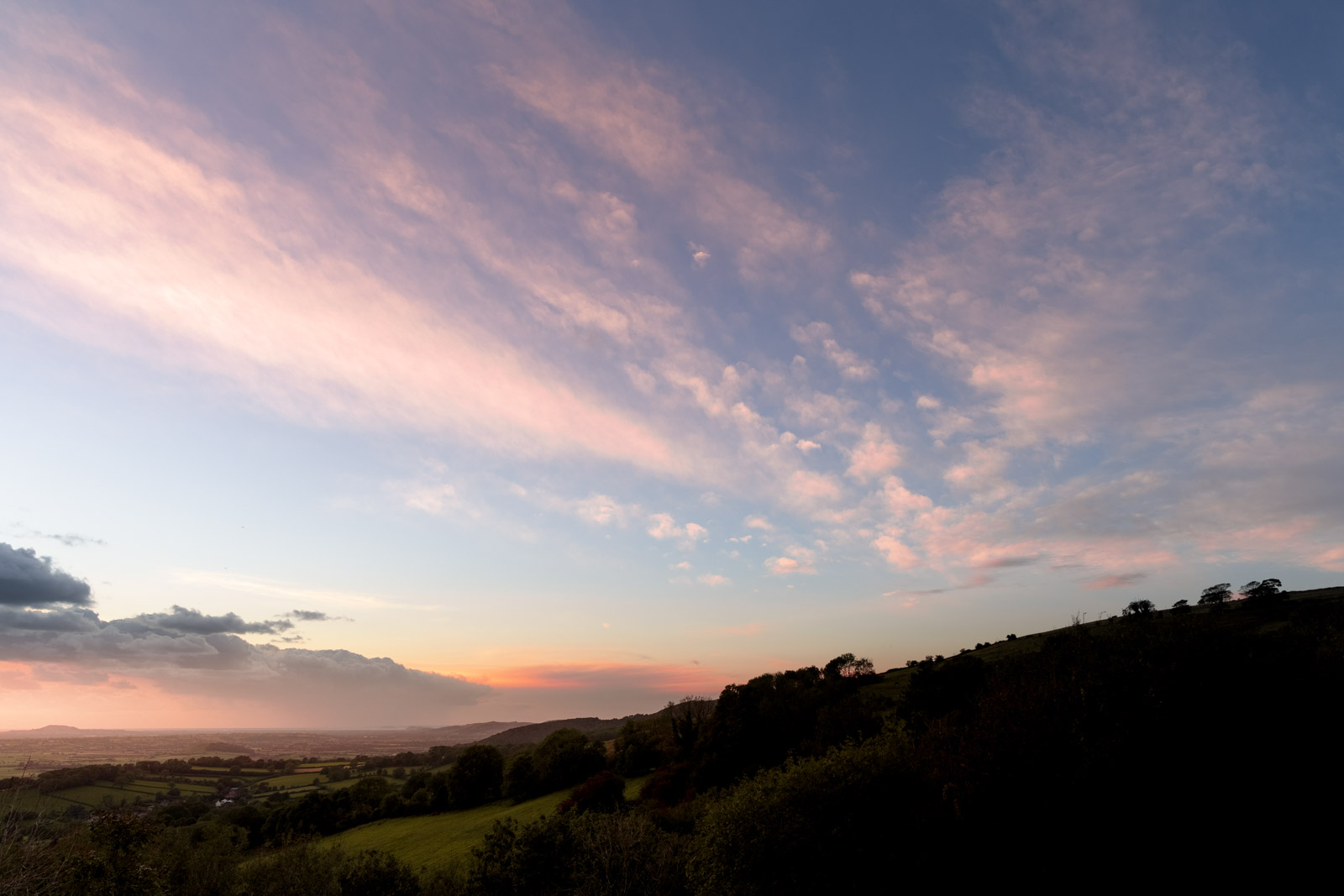Lynchcombe Evening from The Lookout - Mendip Hills, Somerset, UK. ID BR58113