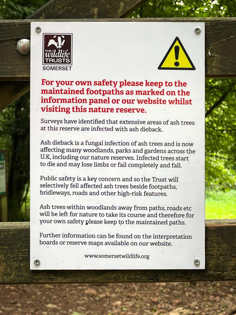 Ash dieback sign - Lynchcombe, Mendip Hills, Somerset, UK. ID IMG_5958